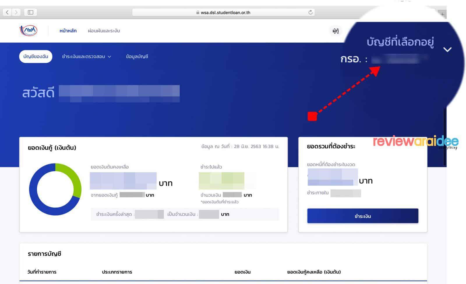วิธีค้นหาเลขบัญชีเงินกู้ กยศ. กรอ.ใน แอปพลิเคชัน กยศ. Connect และเว็บไซต์