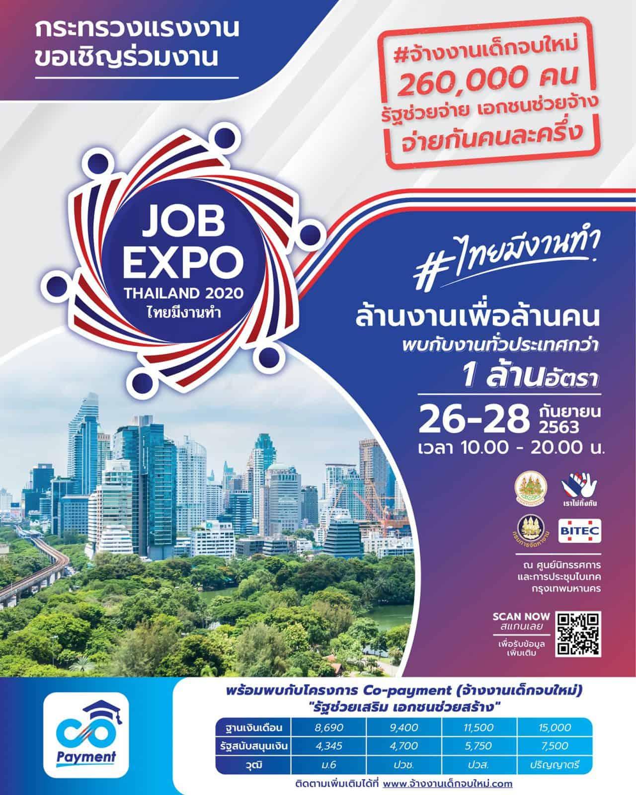 ไทยมีงานทำ.com JOB EXPO THAILAND 2020 26-28 กันยายน 2563 ไบเทค บางนา