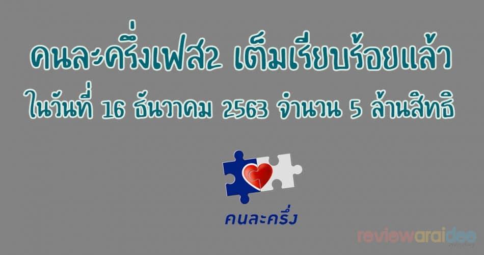 คนละครึ่งเฟส2เต็ม เรียบร้อยแล้วในวันที่ 16 ธันวาคม 2563 จำนวน 5 ล้านสิทธิ